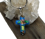 ZSOLDOUT / Cross Key Ring, Turquoise Enameled Cloisonne Cross Keychain, Christian Key Ring