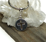 ZSOLDOUT / Cross Keychain, Cut Out Cross Medallion Keychain, Christian Key Ring