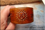 Leather Cuff Bracelet, HERE COMES THE SUN