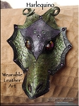 SOLD - Leather Dragon Mask Pendant - HARLEQUINO