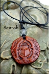 Leather Scarab Necklace, Transformation Amulet - Egyptian Jewelry - SOLD