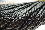 5mm Flat Braided Leather Cord by the Yard, BLACK