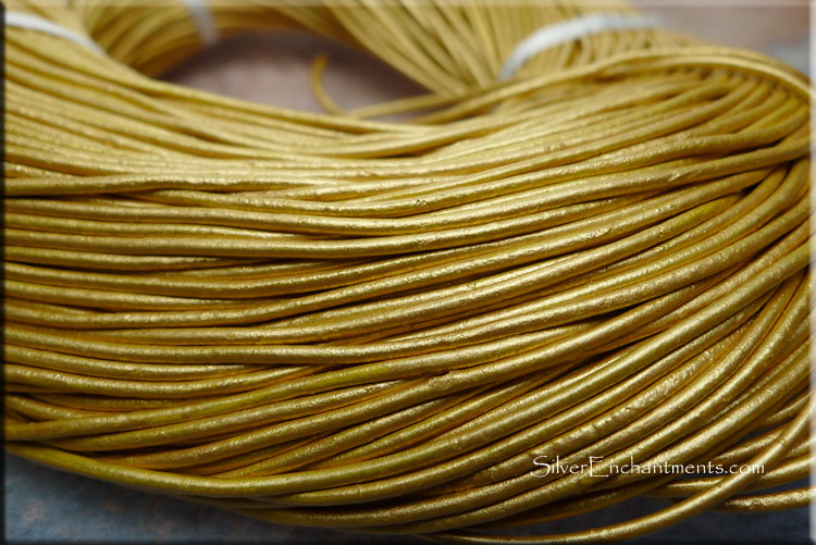 Metallic Gold Leather Cord 10-feet 1.5mm