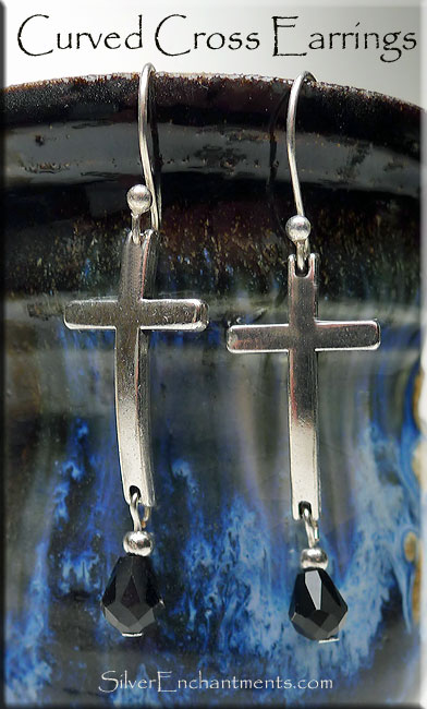 Cross Earrings with Black Crystal Drops - Christian Jewelry
