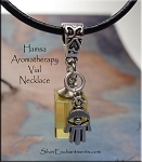 Hamsa Perfume-Aromatherapy Crystal Vial Necklace, YELLOW