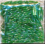 12mm Miyuki Twisted Bugle Beads, Transparent Green AB