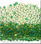 TR10-1165 Miyuki 10/0 Triangle Beads, Emerald Lined Topaz Luster, 10-grams