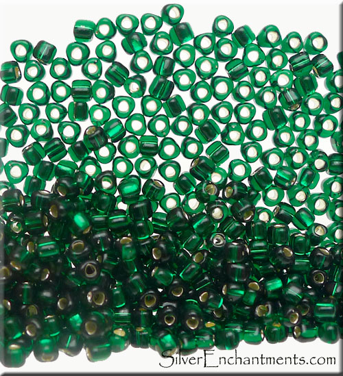TR10-1806 Miyuki 10/0 Triangle Beads, Silver Lined Emerald Green, 10-grams