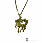 Bronze Horse Necklace, Double-Sided Equestrian Jewelry