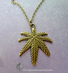 Large Brass Marijuana Necklace, Bronze Cannabis Leaf Pendant Necklace, Pot Jewelry