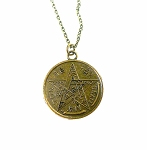 ZSOLDOUT / Brass Tetragrammaton Necklace, St. Michael Archangel Pendant Necklace, Esoteric Pentagram Jewelry, Antique Brass