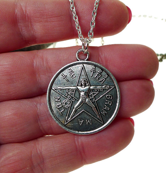 Tetragrammaton Necklace, Tetragrammaton with Vitruvian Man, Esoteric Pentagram Necklace