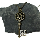 Celtic Key Necklace, Bronze Celtic Skeleton Key Necklace