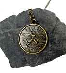 Tetragrammaton Necklace, Antiqued Bronze Tetragrammaton with Vitruvian Man, Esoteric Pentagram Necklace