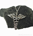 Caduceus Necklace, Large Medical Symbol Jewelry