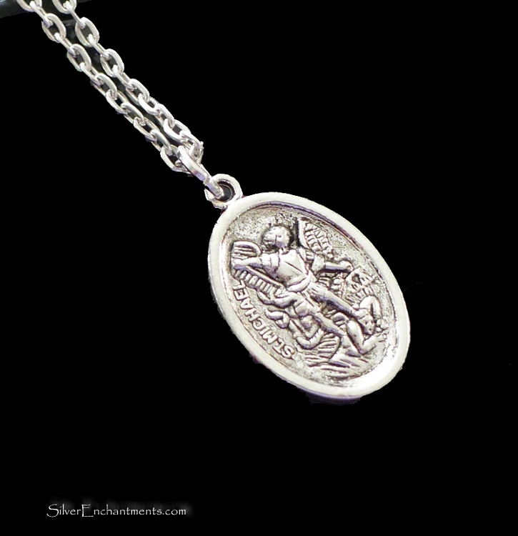 Silver st michael necklace guardian angel charm neckace everyday silver st michael necklace guardian angel charm neckace everyday protection jewelry aloadofball Image collections