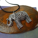 Large Elephant Necklace, Bohemian Filigree Indian Elephant on Suede