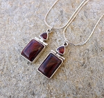Garnet Necklace, Sterling Silver Red Almandine Trillion Garnet and Red Tiger's Eye Gemstone