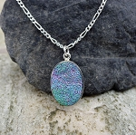 Sterling Silver Druzy Pendant, Genuine Powder Blue Titanium