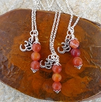 Carnelian Om Necklace, Aum Necklace with Carnelian Gemstones, Sacral Chakra Jewelry, Mini Mala Necklace
