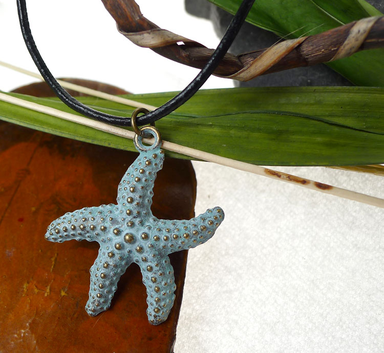 Starfish Pendant Necklace, Sea Star with Verdigris Patina, Ocean Jewelry