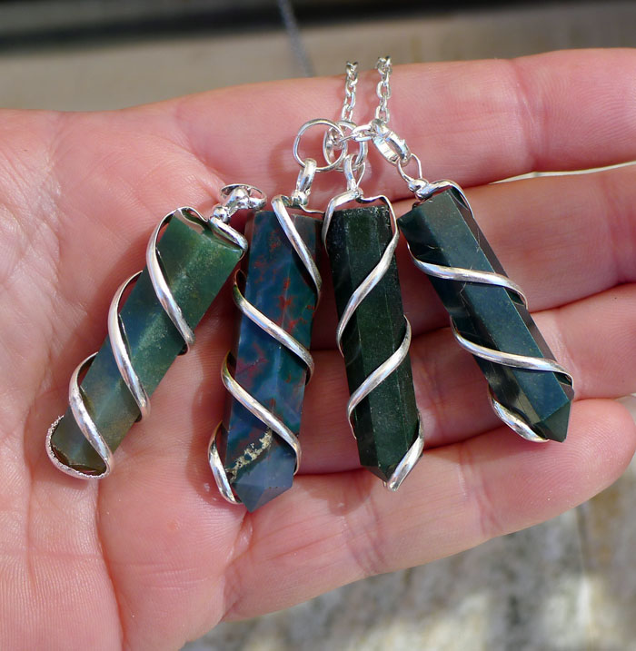 Bloodstone Pendant Spiral Wrapped Bloodstone Wand Necklace