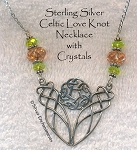 Sterling Silver Celtic Love Knot Necklace with Peridot and Rose Crystals OOAK