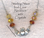 Sterling Silver Irish Love Necklace with Shades of Topaz Crystals, Claddaugh Necklace