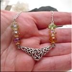 Sterling Silver Celtic Pentacle Necklace with Crystals