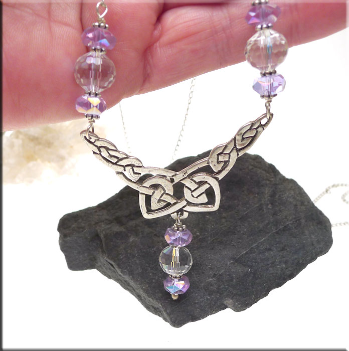 Celtic Knot Necklace with Light Purple and 96-Cut Crystals in Solid Sterling Silver