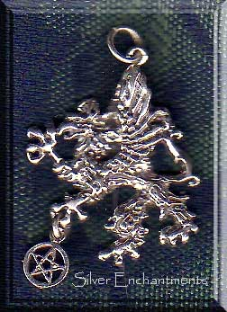 Sterling Silver Gryphon with Pentacle Pendant