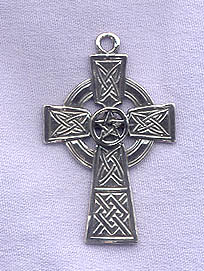 Sterling Silver Pentacle On Celtic Cross Pendant Christo