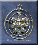 Sterling Silver Greenman Pentacle Pendant, Pentagram with Greenman