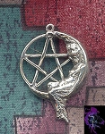 Sterling Silver Moon Goddess Pentacle Necklace, Goddess Pentagram Pendant, Pagan Jewelry