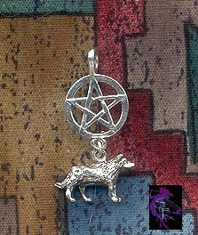 Sterling Silver Dangling Wolf Pentacle Pendant, Pentcle with Wolf Necklace, Pagan Totem Jewelry