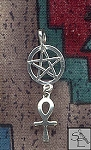 Sterling Silver Bailed Ankh Pentacle Pendant