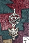 Sterling Silver Dangling Wolf Pentacle Pendant, Pagan Wolf Jewelry