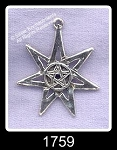 Sterling Silver Septagram with Pentacle, 7-pointed Star
