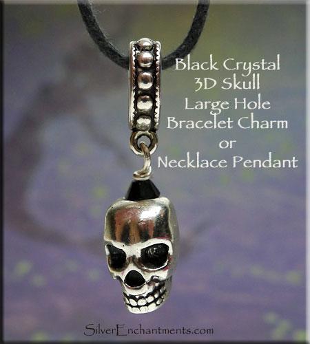 Black Crystal Skull Large Hole Dangle Charm Pendant