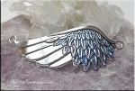 SOLDOUT - Angel Wing Bracelet Centerpiece, Silver with Sapphire Glam Sparkle Patina