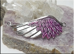 SOLDOUT - Angel Wing Bracelet Centerpiecem Silver with Metallic Hot Pink Patina