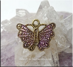 SOLDOUT - Butterfly Charm, Silver Butterfly with Glam Purple Patina