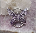 SOLDOUT - Butterfly Pendant or Butterfly Jewelry Connector, Silver Butterfly with Purple Mystery Patina