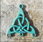 SOLDOUT - Celtic Jewelry Finding Triquetra Knot with Turquoise Verdigris Patina