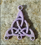 Celtic Jewelry Finding Triquetra Knot with Lavender Purple Patina