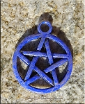 Blue Pentacle Charm, Pentagram Jewelry, Cobalt Sapphire Blue Patina Pagan Jewelry