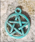 SOLDOUT - Turquoise Pentacle Charm, Pentagram Charm with Verdigris Patina, Pagan Jewelry