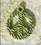 Textured Peace Sign Pendant, Olive Patina