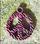 Textured Peace Sign Pendant with Amethyst Purple Patina