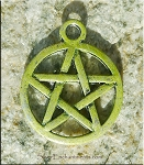 SOLDOUT - Green Pentacle Charm, Pentagram Charm with Olive Patina, Pagan Jewelry